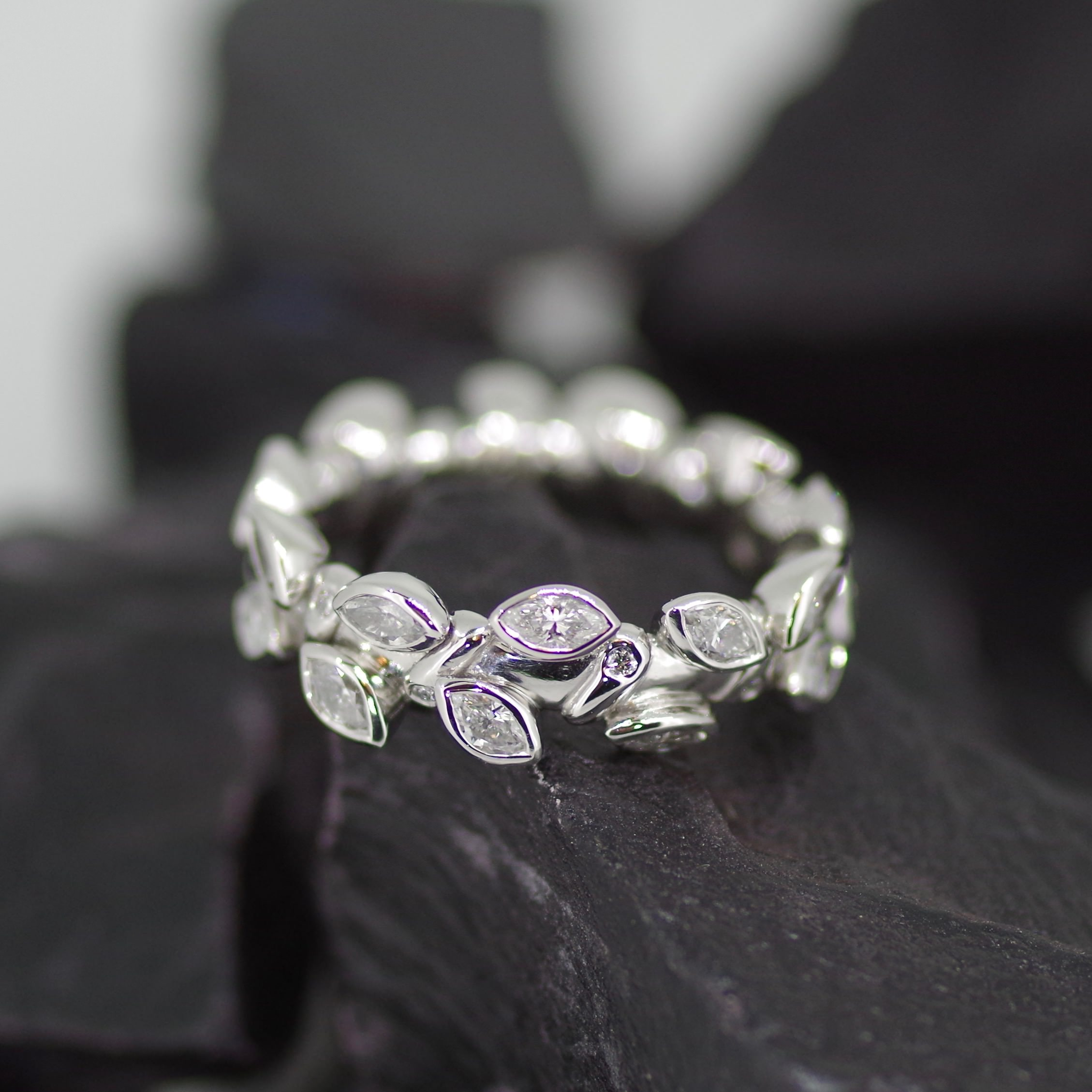 Platinum ring set with forty four marquise & brilliant cut Diamonds (ref ET002)