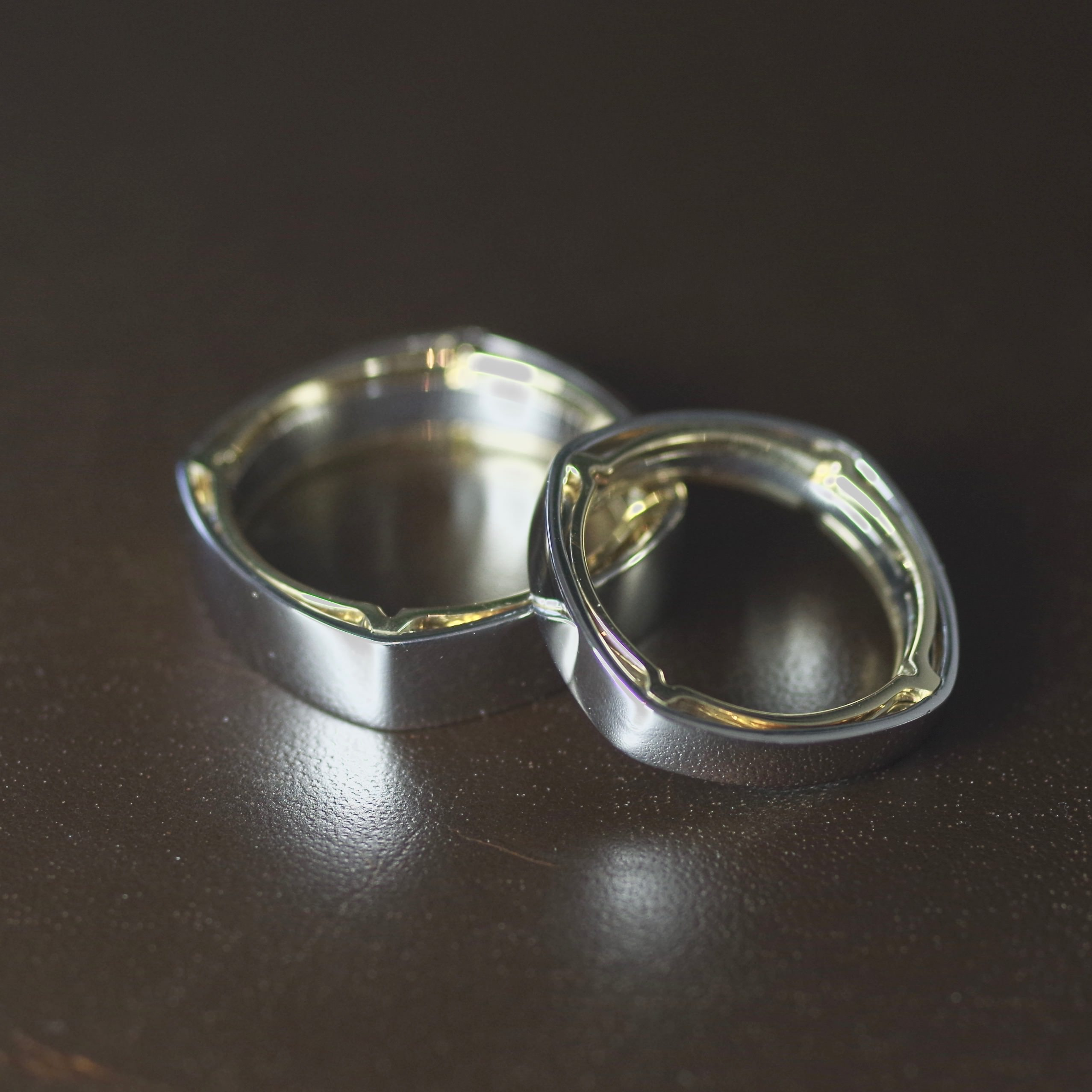 Coupleling Palladium and 18ct Gold rings (ref WR0013)