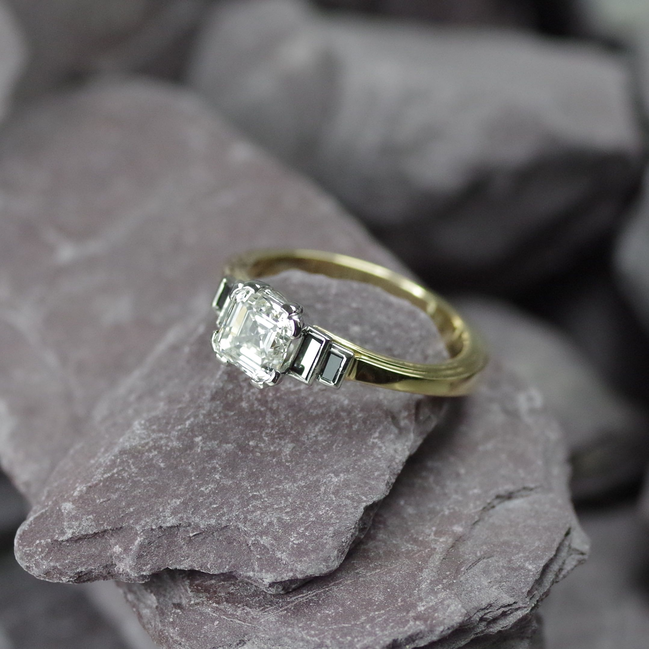18ct Gold and Platinum ring set with one 1.08ct Assher cut Diamond & flanking black Diamond baguette's (ER011)